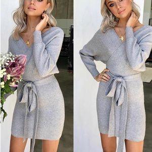 Grey wrap style sweater dress